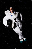 A happy cosmonaut in space
