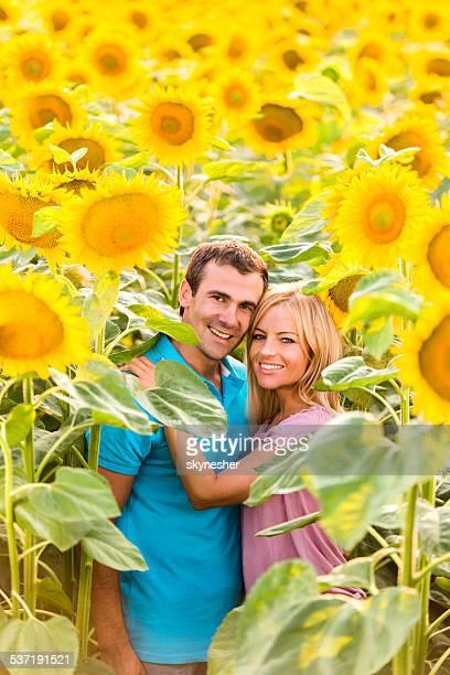 Casal feliz entre sunflowers.