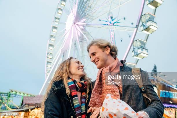 Happy Couple At Christmas Fair