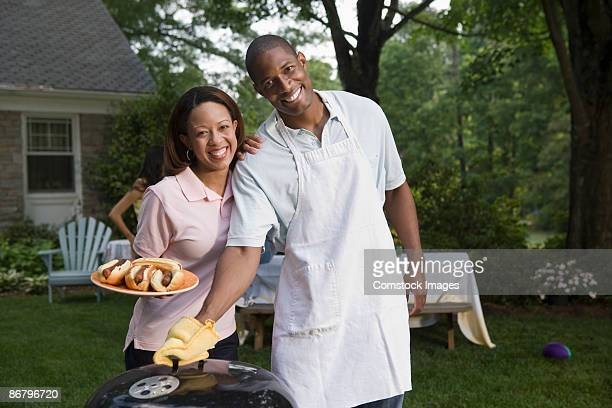 Happy couple at cook-out