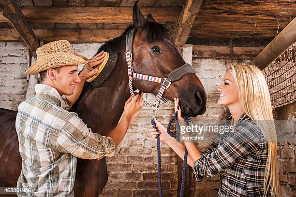 Happy couple brushing a horse in a barn.