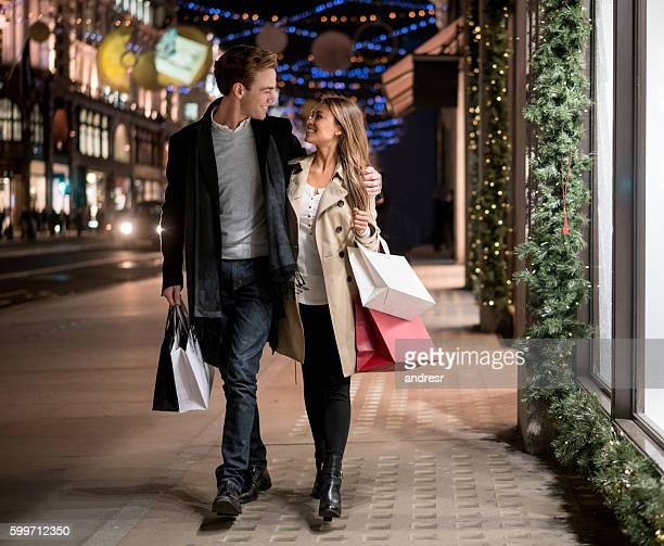 Happy couple Christmas shopping