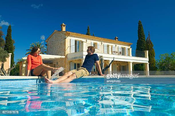 happy couple enjyoing their vacation on spanish finca