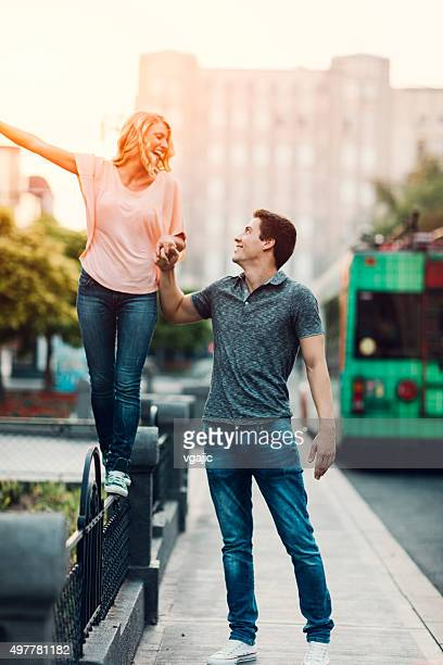 Happy Couple In A City.