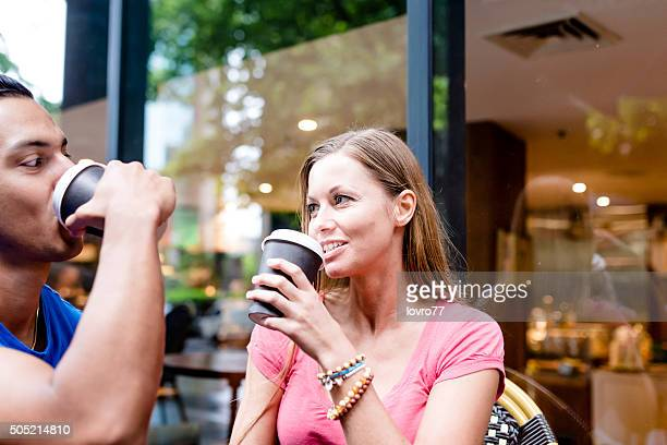 Happy couple in caffe