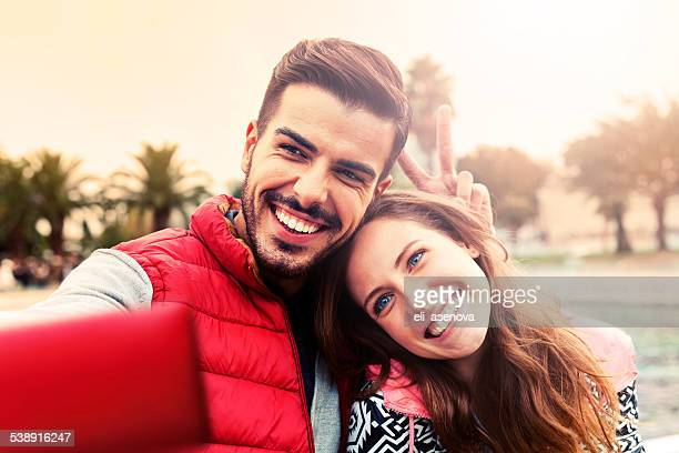 Happy couple in Istanbul taking a selfie