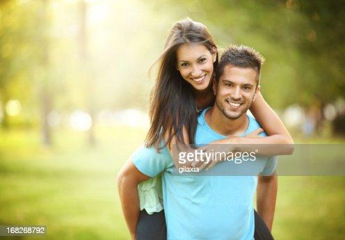 Happy couple in park.