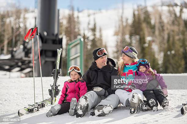 Happy Couple of Winter Vacation with Their Children