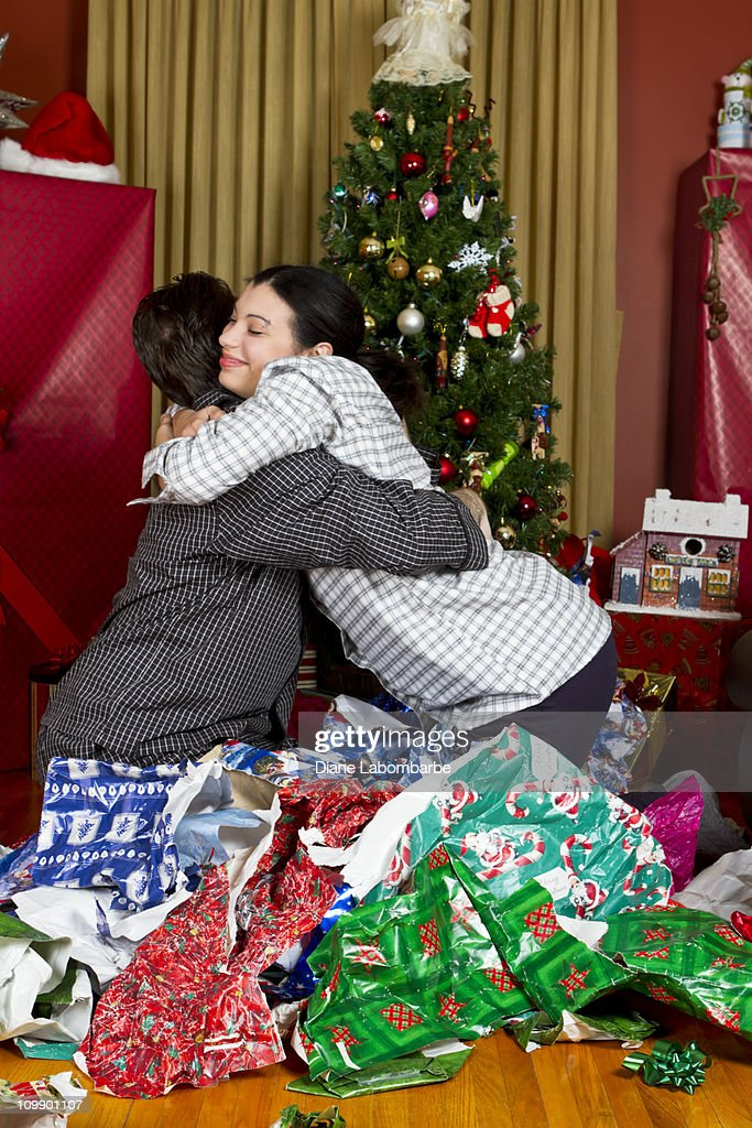 Happy Couple On Christmas Morning : Stock Photo
