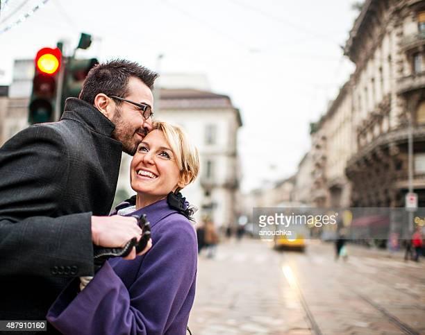 Happy couple on Milan street