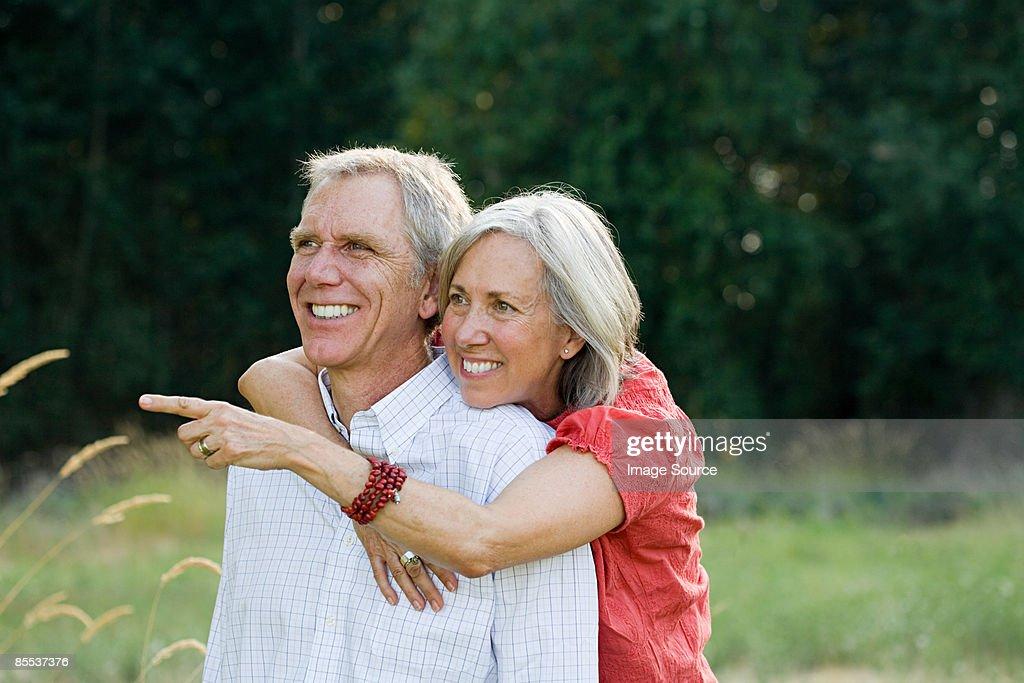 Happy couple outdoors : Stock Photo