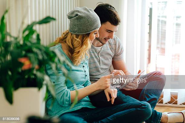 Happy Couple Shopping Online.