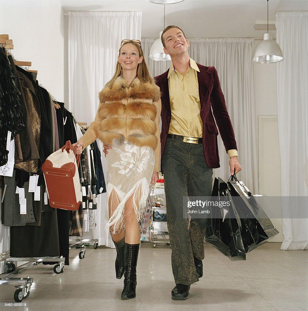 Happy Couple Shopping : Stock Photo