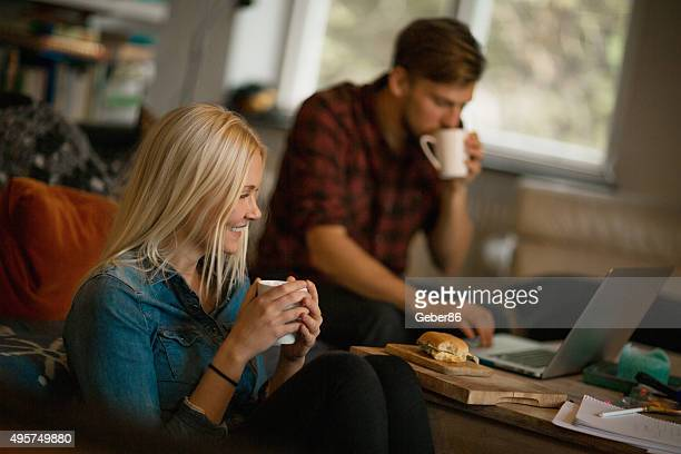 Happy couple studying together