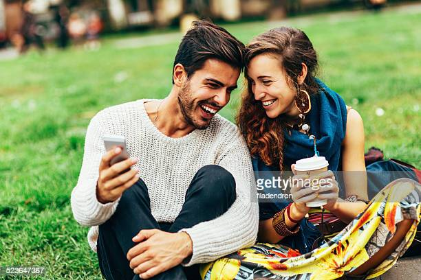 Happy couple surfing the net