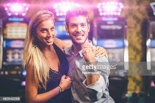 Happy Couple winning at Casino