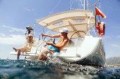 happy couple yacht and fun sailing luxury cruise
