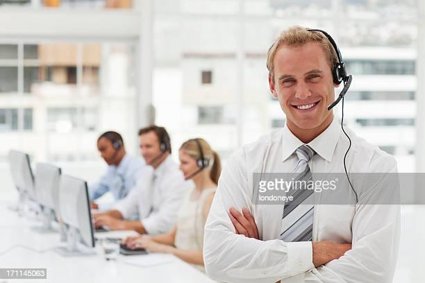 Happy customer service agent.