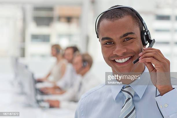Happy customer service agent.