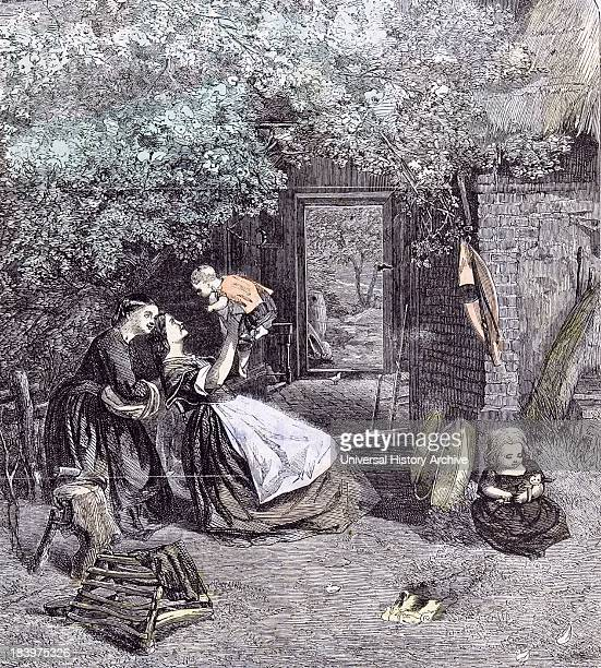Happy Days In The Garden Children CJ Lewis 1860 Spring Garden Back Garden Doll Axe Wood Mother Maid Duck Ducklings Tree Leaves Greenery Straw Roof...
