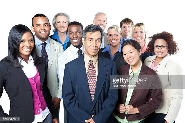 Happy diverse business team