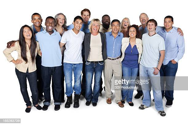 Happy diverse group of adults on white background
