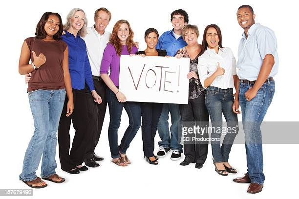 Happy Diverse Group of People Holding Vote Sign