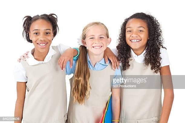 Happy diverse group of schoolgirls