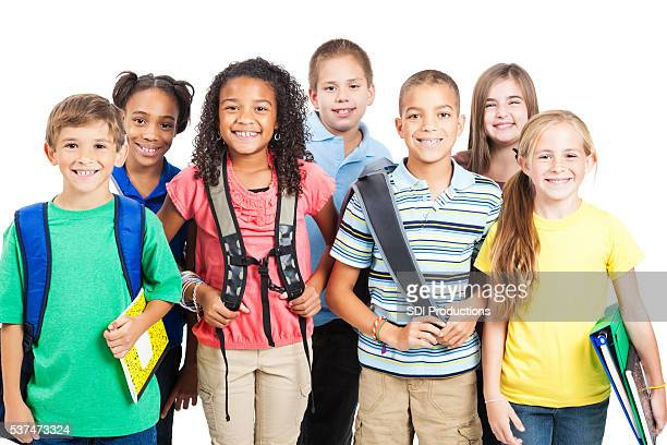 Happy diverse group of students ready for school