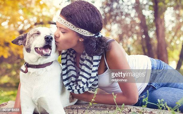Happy Dog Pet Portrait with Teen Girl Outdoors Nature
