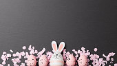 Happy easter background with easter bunny and easter eggs