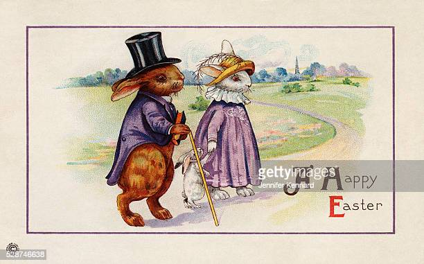 A Happy Easter Postcard with Rabbit Family