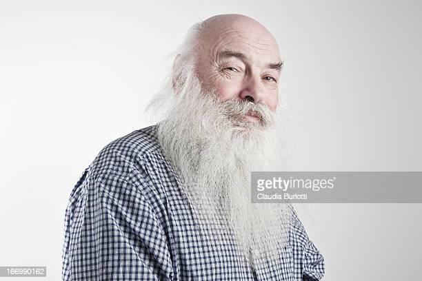 Happy Elderly Man with Long Beard