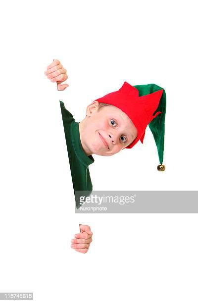 happy elf peeking
