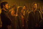 REVOLUTION 'Happy Endings' Episode 213 Pictured Mat Vairo as Connor Tracy Spiridakos as Charlie Matheson David Lyons as Sebastian Monroe