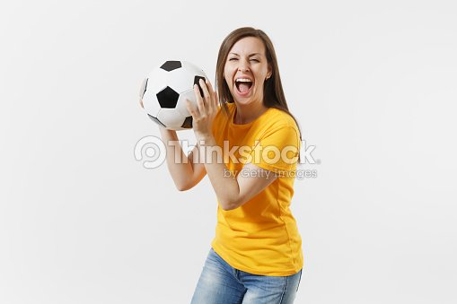 b0a54aa13 Happy European Young Woman Football Fan Or Player In Yellow Uniform ...