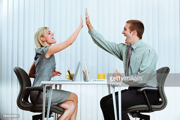 Happy Excited Business Managers Office Workers Team Doing High Five