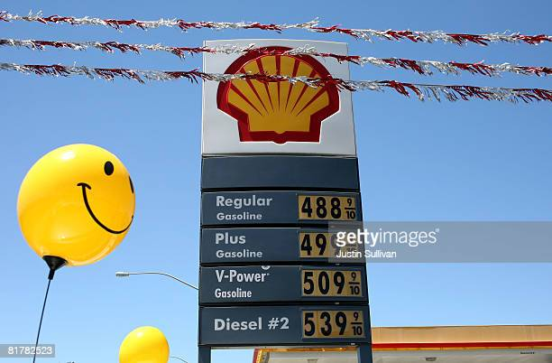 A happy face balloon floats near a price board at a Shell gas station displaying gas prices over $500 per gallon June 30 2008 in San Bruno California...
