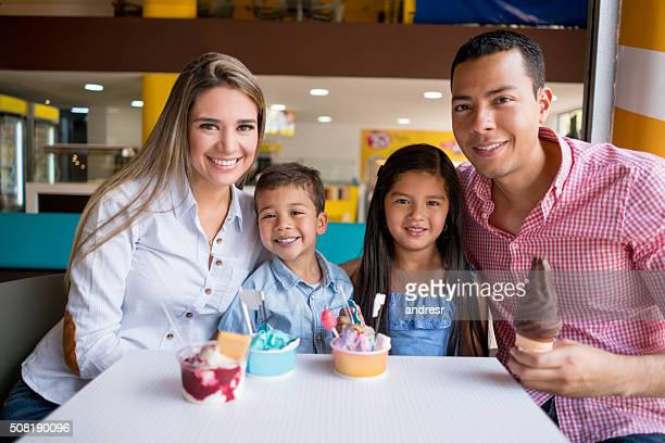 Happy family at an ice cream shop