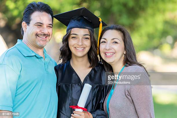 Happy family at daughter's graduation