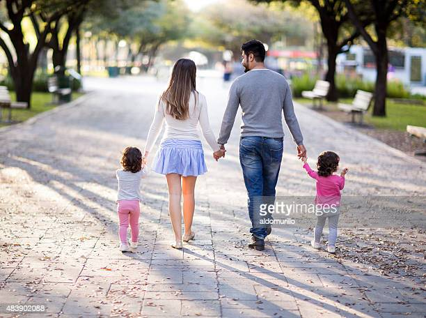 Happy family at walk