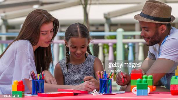 Happy family  coloring pages with his daughter