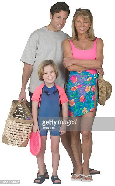 Happy Family Dressed for Beach