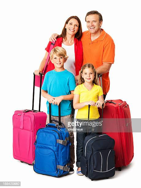 Happy Family Going For a Vacation - Isolated