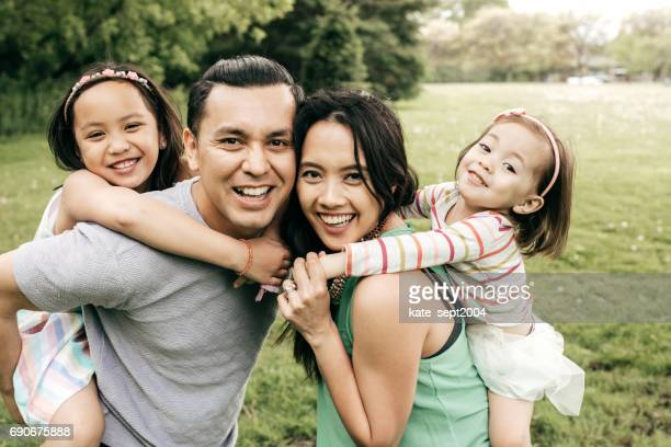 Happy family having fun outdoor