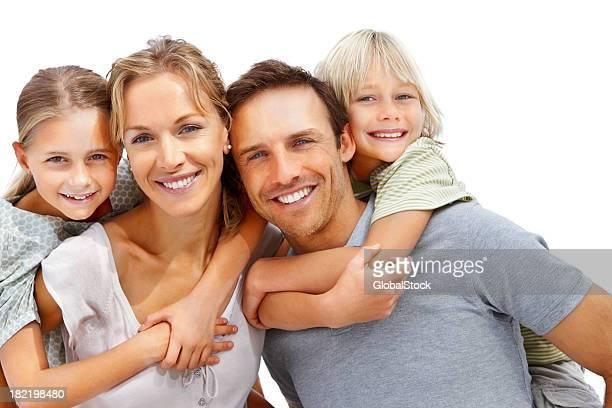 幸せな家族の上をお楽しみください。白背景