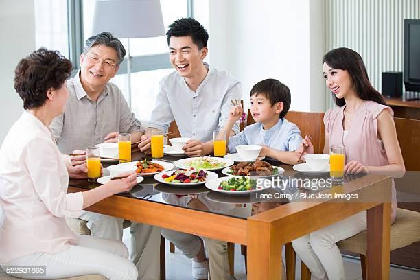 Happy family having lunch