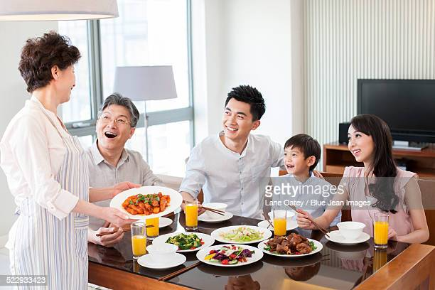 Happy family having lunch
