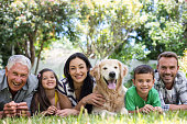 Portrait of cheerful extended family lying on front in the park