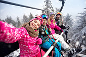 Happy family with children in cable car climb to ski terrain